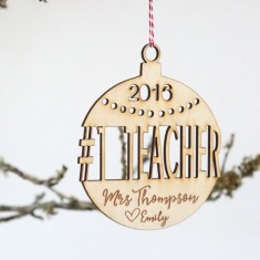 Personalised Number 1 Teacher - Wooden Christmas tree decoration