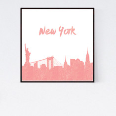 New York rose gold print