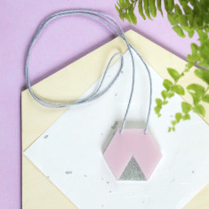 Geo hexagon necklace in pearlescent pink and silver glitter