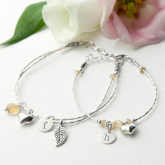 Mother & Daughter Personalised Bracelet With Citron Stones