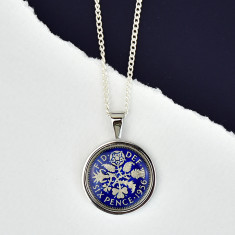 Sixpence Year Enamel Coin Necklace Pendant