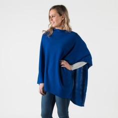 Merino wool poncho in sapphire