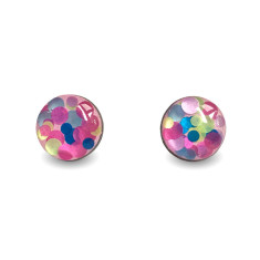 Circle glittered earrings in pink, lime & blue