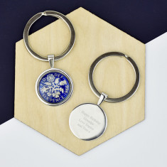 Sixpence Year Enamel Coin Key Ring