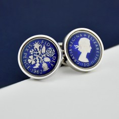 Sixpence Year Enamel Coin Cufflinks