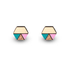Hexagon geometric earrings in aqua, bronze leaf and pink