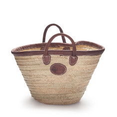 Classic palm basket with leather trim with short handles