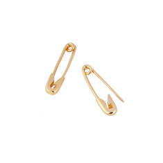 Safety pin earrings in gold vermeil