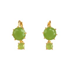 Two round stones apple green diamantine earrings