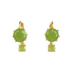 Two round stones apple green diamantine earrings