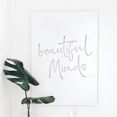 Beautiful Minds matte white steel wall art
