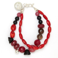 Red coral & pink aventurine beaded bracelet