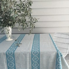 Blue Broderie Anglaise linen tablecloth