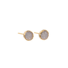 Mini Circle Light Grey Drusy Stud Earrings