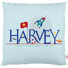 Boys' personalised name cushion cover (various designs)