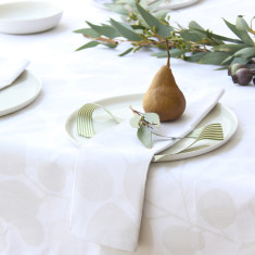 Tablecloth in eucalyptus snow