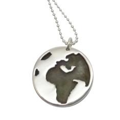 Globe sterling silver necklace