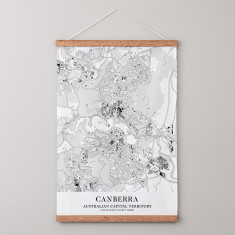 Canberra Outline Map Fabric Wall Hanging