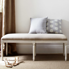 Natural Linen Bed ottoman - Antique White Frame