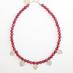 Pink aventurine necklace with leaf pendants