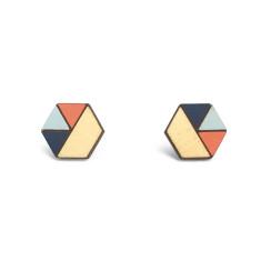 Hexagon geometric earrings in navy, baby blue & neon red