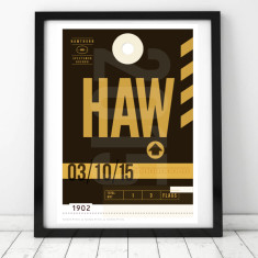 Hawks luggage tag wall art