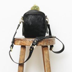 Law of the wild leather bag in black fur