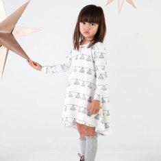 Tassle cloud white long sleeve swing dress