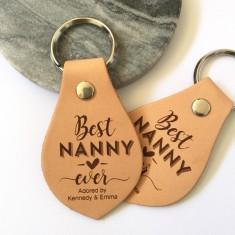 Personalised Best Nana/Nanny/Grandma/Grandmother leather key ring