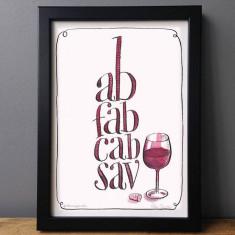 Ab fab cab sav humorous wine print