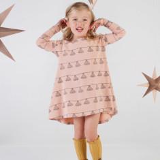 Tassle blush long sleeve swing dress