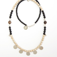 Fossil coral & black onyx disc necklace