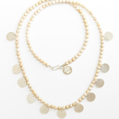 Fossil coral disc necklace