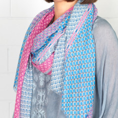 Collage digital print cotton scarf (various colours)