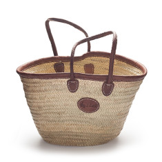 Large classic palm basket with leather trim with long handles