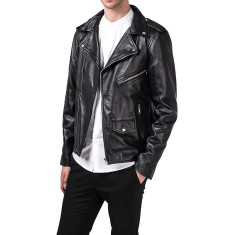 Black MB1 biker leather jacket