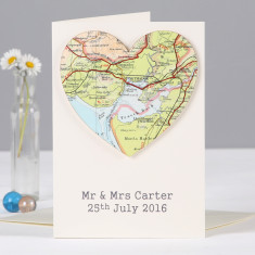 Map heart Wedding And Anniversary Card