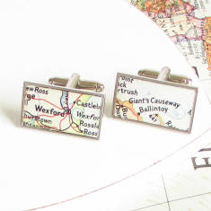 Personalised location rectangle map cufflinks