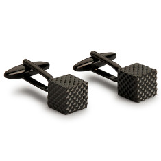 Abstract Square Block Cufflinks - Black
