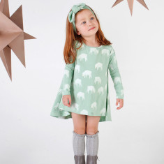 Counting sheep jade long sleeve swing dress