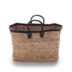 Rectangle basket in rustic weave in medium with black trim