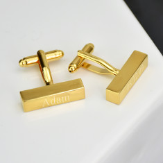 Personalised Brushed Gold Bar Cufflinks