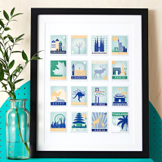 Stamp Art Destination Personalised Print (16 stamps)