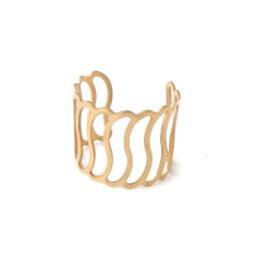 Gold deco wave ring