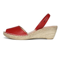 Bosc leather & natural jute sandals in red