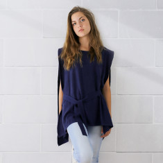 Cashmere belted cape poncho in navy blue