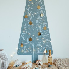 Bora Bora Christmas tree wall decal with lights & decorations