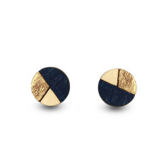 Circle geometric earrings in navy blue & gold leaf