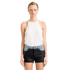Blue denim & black leather Arianna shorts
