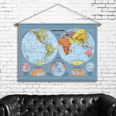 World Map Linen Wall Hanging